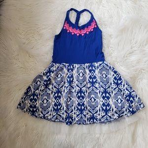 Children's Place royal blue /ikat halter dress